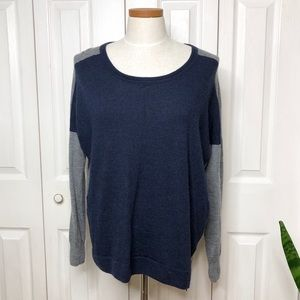 Madewell Merino Wool colorblock crew neck sweater